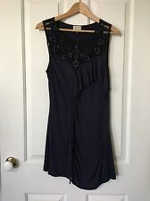 Karen Millen Navy Blue Blouse Top Black Lace Studs Ruffles Size UK 16 AUS 14