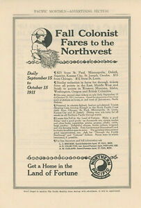 1911 Northern Pacific Railway Ad Colonist Fares to Northwest Settlers Homestead
