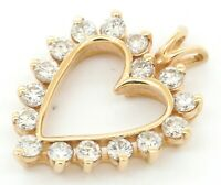 14K yellow gold lovely 1.12CT VS2/G diamond open heart pendant