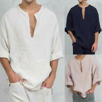 Mens Long Sleeve Linen Shirt Loose Summer Casual V-Neck T-Shirts Tee Tops Blouse