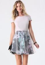BEBE FLORAL PRINTED ORGANZA OVERLAY DRESS NWT NEW SMALL S 6
