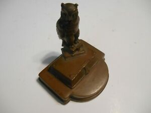 antique bronze owl standing on books 19th century