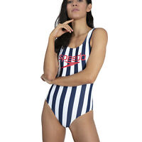 SALE.SPEEDO WOMENS SWIMSUIT.ICE CREAM BACK STRIPED ENDURANCE SWIMMING COSTUME 9W