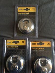 3  EQUIP  DISC PADLOCKS    70ML   STAINLESS STEEL 3 KEYS  EACH LOCK