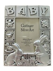 Silver Plated Satin Finish Baby Album 4x6 Holds 100 photos.  New In Box