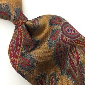 Robert Talbott Tie Best Of Class Gold Red Paisley Silk Necktie Woven I17-364 Vtg
