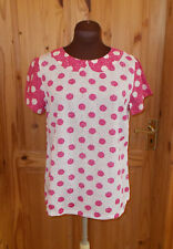 WHITE STUFF off-white pink spotted polka dot short sleeve tunic top blouse 12 40
