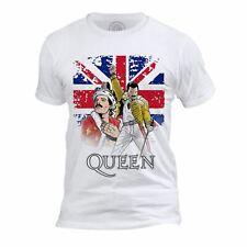 T-shirt Homme Col Rond Freddie Mercury Queen Graphic Fan Art Drapeau Anglais