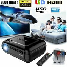 8000 Lumen Mini HD 1080P Full 3D LED Projector Multimedia Home Theater Cinema w7
