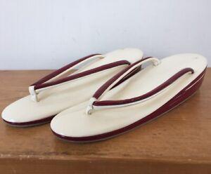 Traditional Japanese Geta Patent Leather Platform Thong Sandals Womens 3 EU33