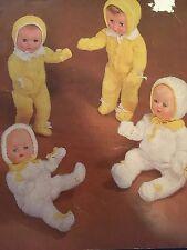 "Knitting Pattern Pram Set For Dolls 10-16"" Vintage"