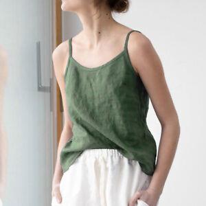 Summer Women Sleeveless Vest Halter Neck Crop Tank Cotton Linen Tops Casual Cool