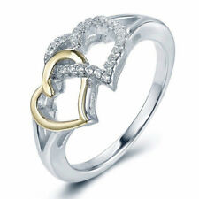 Women 925 Silver Filled Double Heart White Sapphire Ring Wedding Engagement Gift