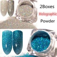 2Boxes Holographic Holo Laser Glitter Powder Dust Nail Art   Decoration