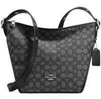 461ea00c93 New coach Small dufflette Bag black Cotton zip Closure signature C s  crossbody