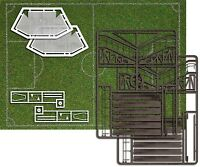 BUSCH 1052 Football Pitch With Goals & Spectator Stand HO Model Railway   1:87