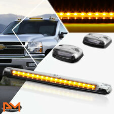 3Pcs Cab Roof Running Light Chrome Housing Yellow LED For 07-13 Silverado/Sierra