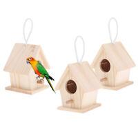 2 Pcs Natural Wooden House Parrot Bird Perches Parakeet Hanging Nesting Box
