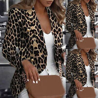 Leopard Jacket Women Slim OL Warm Coats Casual Winter Cardigan Long Sleeve Coat