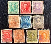 1902-03 US Stamp SC#300-310 Regular Issue Used  CV:$78