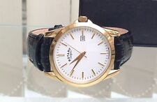 ROTARY MENS GENT 9CT GOLD PLATED CLASSIC LOOK SWISS WATCH used RRP £180 Boxed