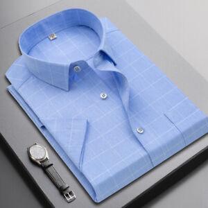 Mens Short Sleeves Dress Shirts Formal Slim Fit Plaids Multicolor Casual Shirts