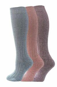 3 Pairs Ladies Long Wool Blend Padded Sole Walking Wellie Boot Socks UK 4-7