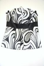 Principles Fitted Top Black Grey Sleeveless Basque Size 12 Boned Silky Smart Dre