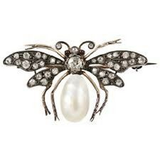 Pearl 925% Sterling Silver Bug Pendant Victorian 1.30 Ctw Rose Cut Diamond And