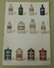 More details for antique chemist advertising design proof bottles jars poison etc hand-coloured