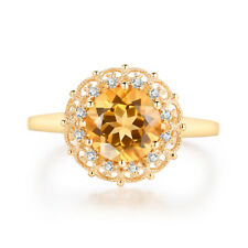 Engagement Jewelry Solid 14K Yellow Gold Diamond Ring Genuine Citrine 8mm Round
