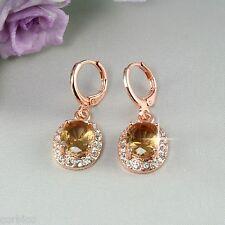 E3 ocasión 18k Rose Oro Plateado colgantes pendientes de Champagne Zirconia Cristal