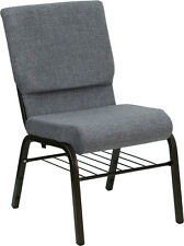18.5'' W Gray Fabric Church Chair, Book Rack - Gold Vein Frame