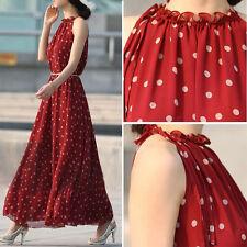 Women's Boho Chiffon Long Maxi Dresses Evening Party Beach Dress Floral Sundress