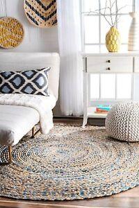 Rug Jute & Denim Round 2x2 Feet Floor Mat Living Room Reversible Area Rag Rug