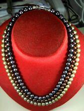 COLLANA PERLE FIUME VERDE GRIGIO MARRONE FT NATURALI ARGENTO Necklace pearls