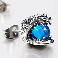 silver earring stainless steel blue Crystal SINGLE snake Cobra stud