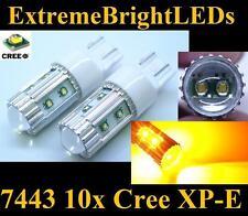 TWO Orange AMBER 50W High Power 10x Cree XP-E 7440 7443 LED Turn Signal Lights