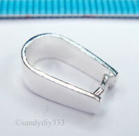1x STERLING SILVER BRIGHT PENDANT PINCH BAIL CLASP 12mm #1395