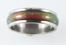 8mm Solid Heavy Stainless Steel Mood Ring Hypersensitive Color 70's Look Nice