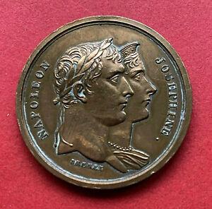 FRANCE Médaille BRONZE BRENET Napoléon Bonaparte fêtes couronnement Paris 1804
