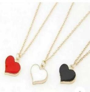 Love Heart Short Enamel Pendant Necklace in Red Black & White - Perfect Gift