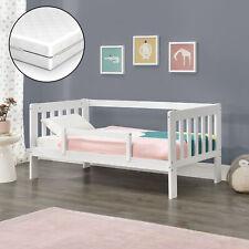 Kinderbett + Matratze 80x160cm Juniorbett mit Rausfallschutz Stauraum Bett Weiß