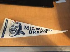 "1960's Milwaukee Braves Bazooka 15"" Pennant W/Guys Potato Chip Pin"
