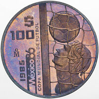 1985 MEXICO 100 PESOS SILVER PROOF PURPLE BLUE COLOR TONED BU UNC STUNNING (DR)