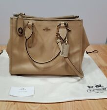 Auth COACH Crosby Carry All Cross Grain Leather 33995 Beige Leather Tote Bag
