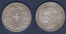 Suisse - 5 Francs 1892 Argent TB Very Fine - Swiss Helvetia 190000 Exemplaires