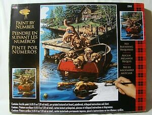 """PLAID Paint By Number Kit  22045 DOG PADDLE(Dogs on the Dock) 16"""" by 20"""""""
