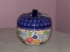 Genuine UNIKAT Signed Polish Pottery Lidded Apple Baker! Paper Lanterns Pattern!