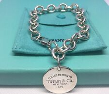 Authentic 925 Please Return to TIFFANY & Co. Round Tag Bracelet- 7.5""